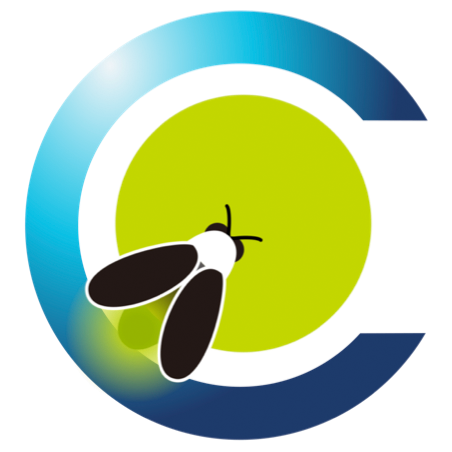 A blue letter C with a bright green circle inside has a stylized firefly perched on top of it.