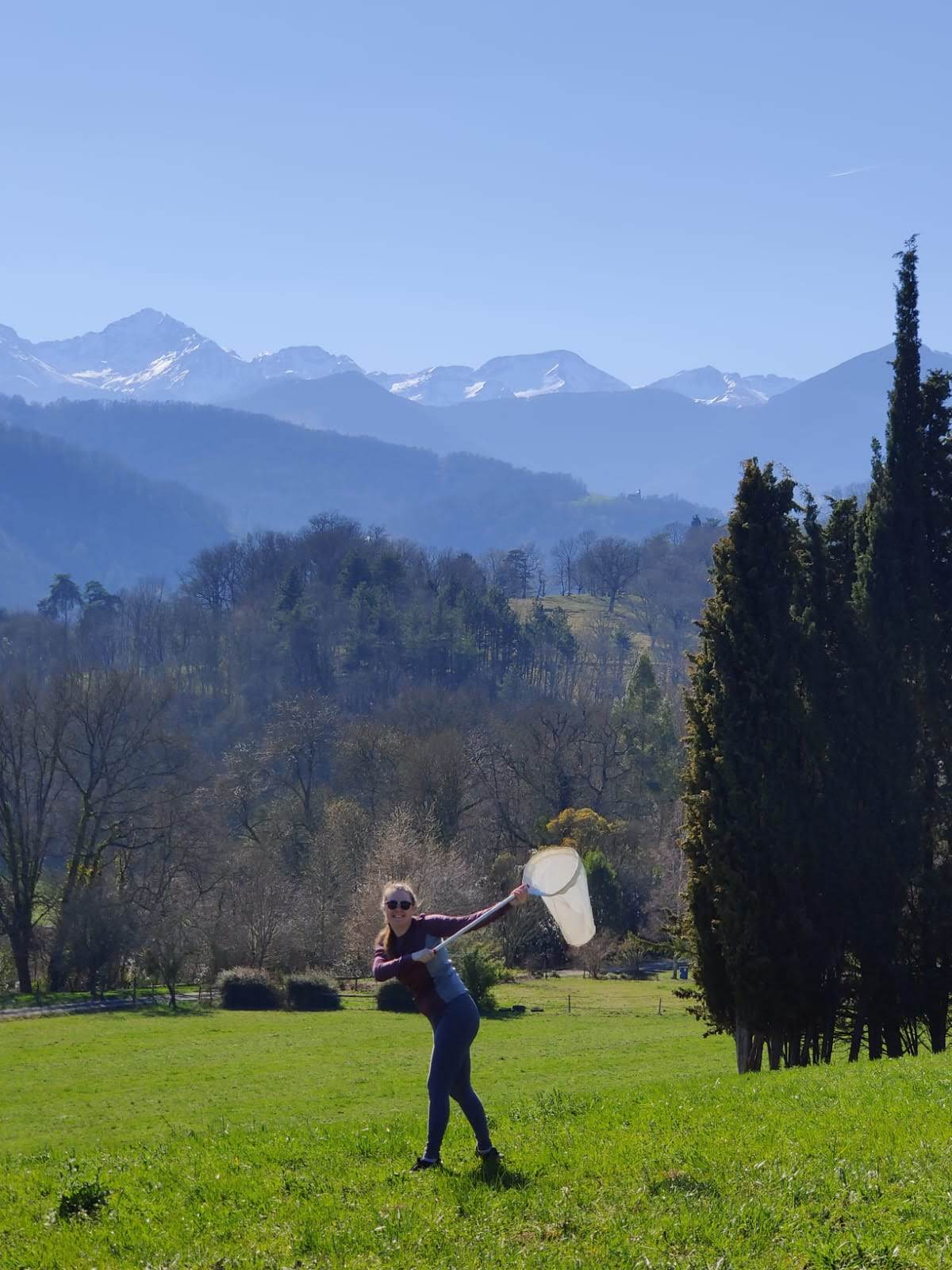 Jayme Lewthwaite conducts field work in the foothills of the Pyrenees