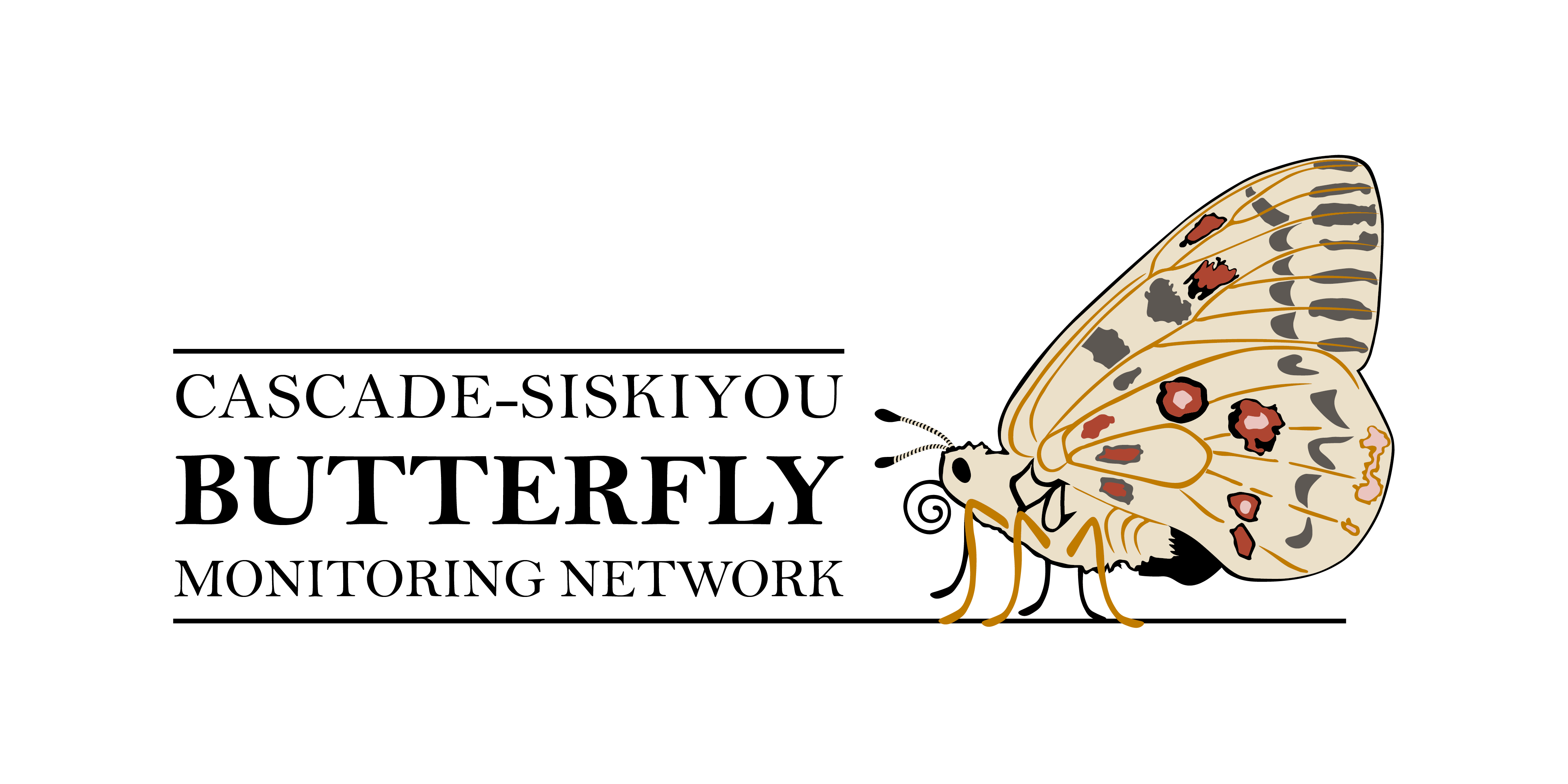 The logo of the Cascade-Siskiyou Butterfly Monitoring Network is shown, with the name of the program and a stylized butterfly with red and dark spots on its wings.