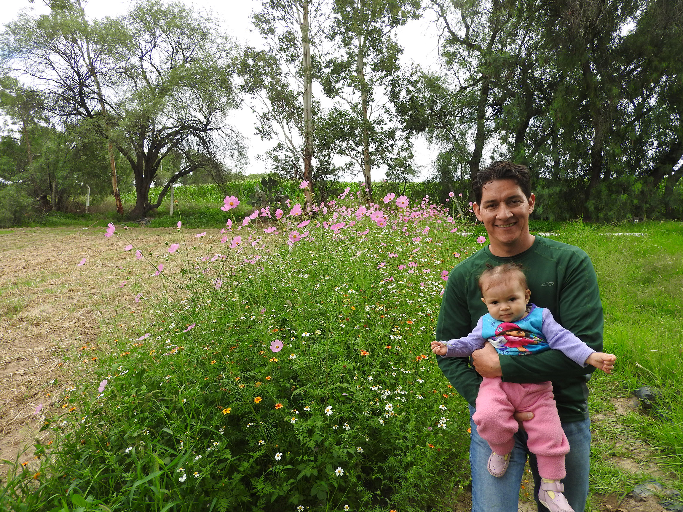 The author, Héctor Ávila Villegas, stands beside a pollinator habitat strip full of pink, white, and yellow flowers