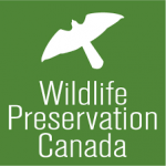 The green and white Wildlife Preservation Canada logo is shown, with the organization's name underneath a stylized silhouette of a bird in flight.