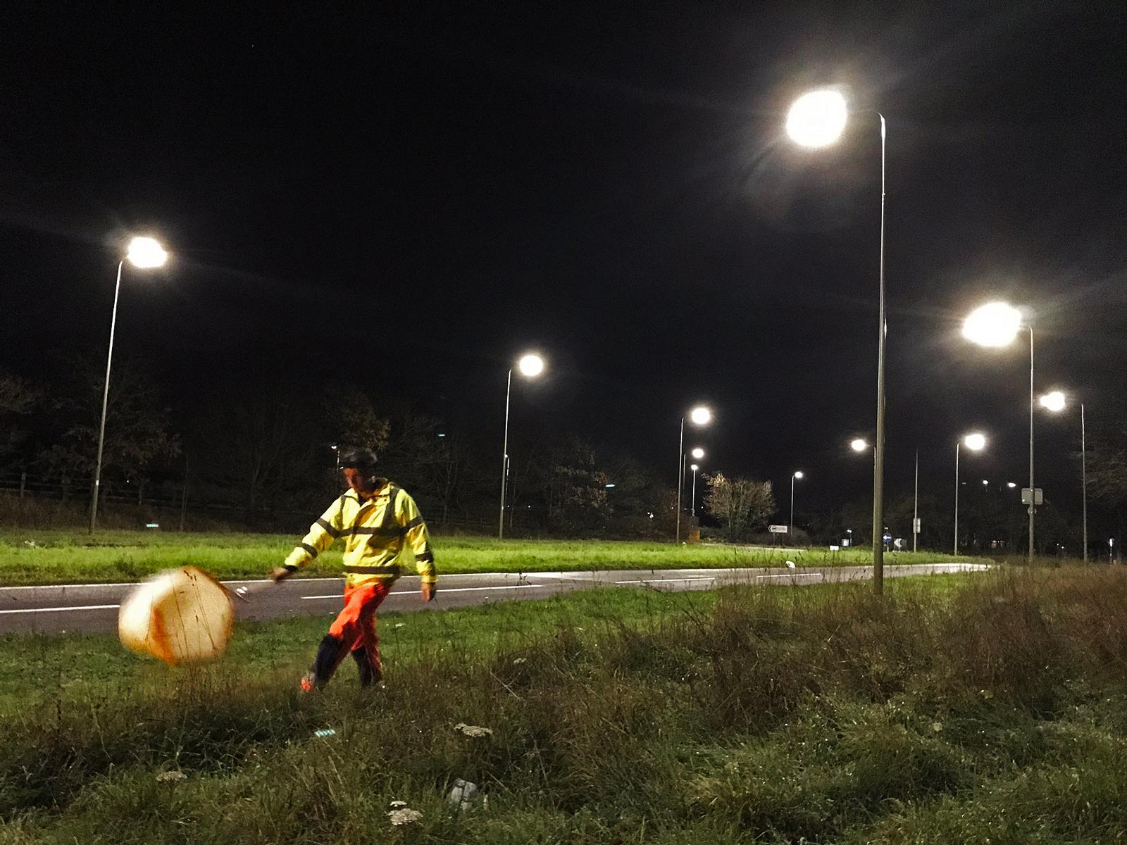 Douglas Boyles conducts nighttime field work.