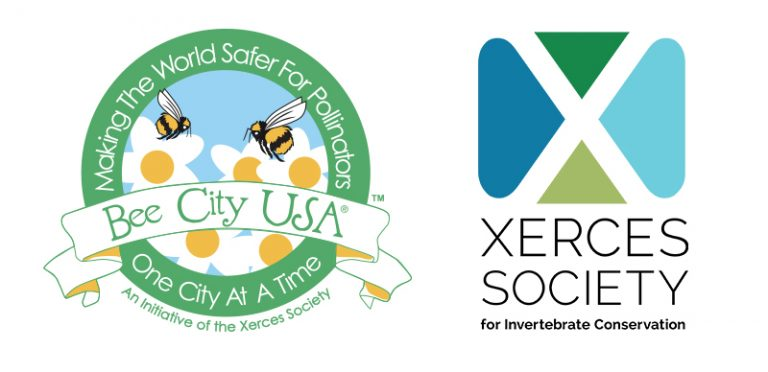 The Bee City USA and Xerces Society logos are shown side-by-side here.