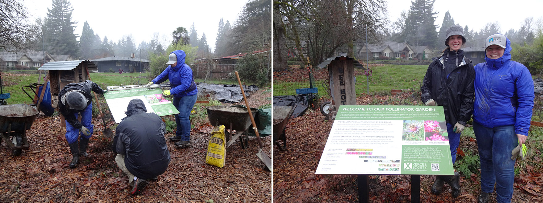 At left, adults install the interpretive sign made for the garden. At right, Carolyn and the author pose next to the sign.