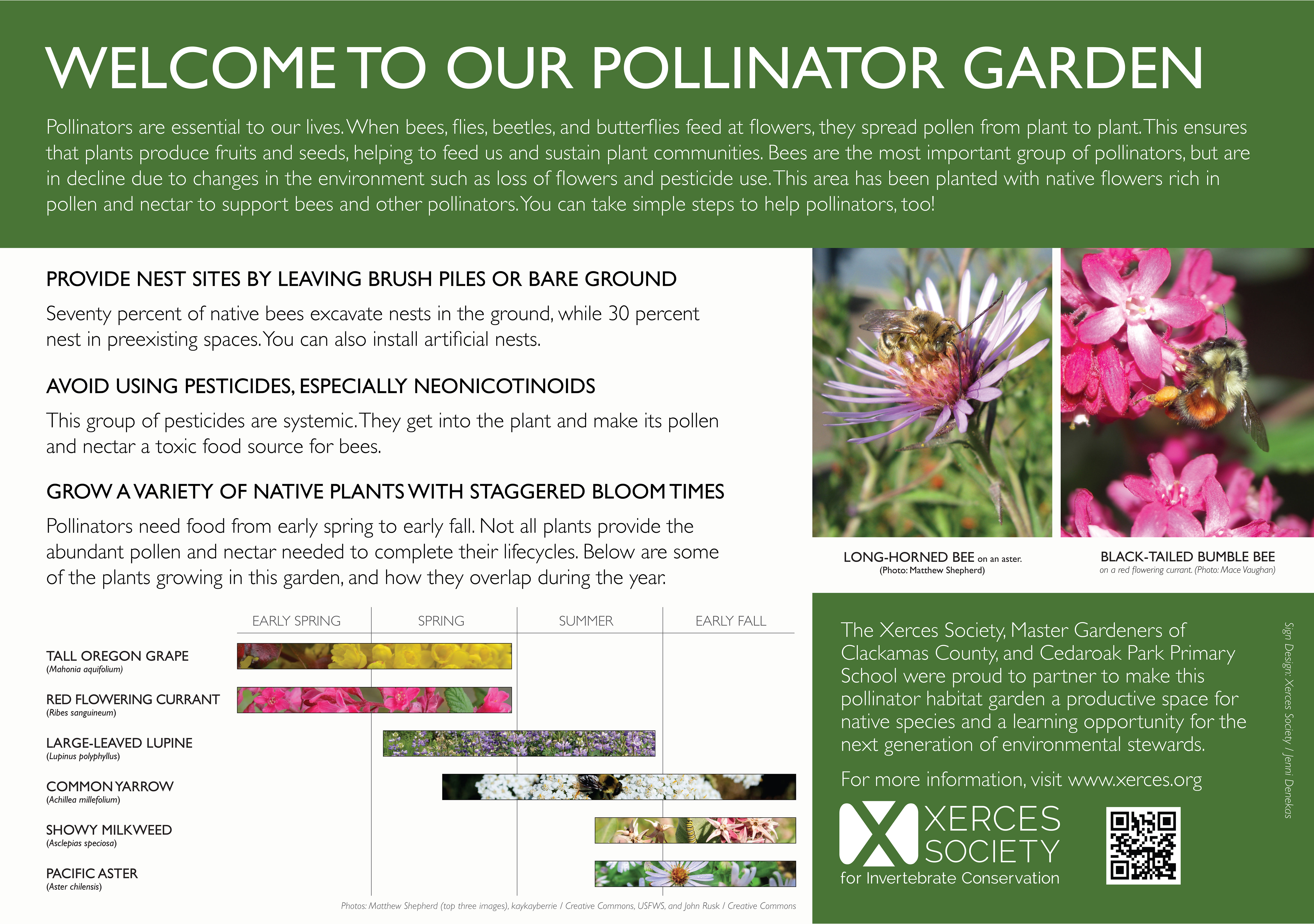 An interpretive panel welcomes visitors to a pollinator garden and provides tips on gardening for pollinators.
