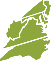 This map shows the Mid-Atlantic Region: A portion of Pennsylvania, and all of New Jersey, Washington, D.C., Maryland, West Virginia, Virginia, and North Carolina. This map is green.