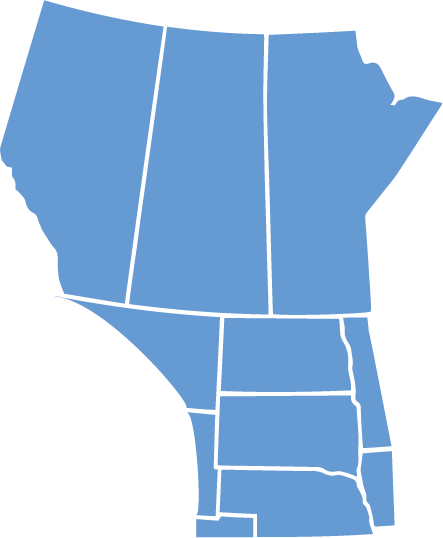 A map of the North Central Region is shown: Alberta, Saskatchewan, Manitoba, North Dakota, South Dakota, Nebraska, and a bit of Montana, Wyoming, Colorado, Minnesota, and Iowa. This map is light blue.