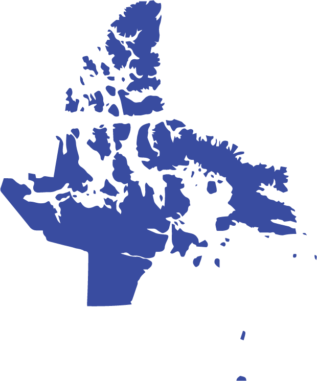 A dark blue cutout of Nunavut is shown.