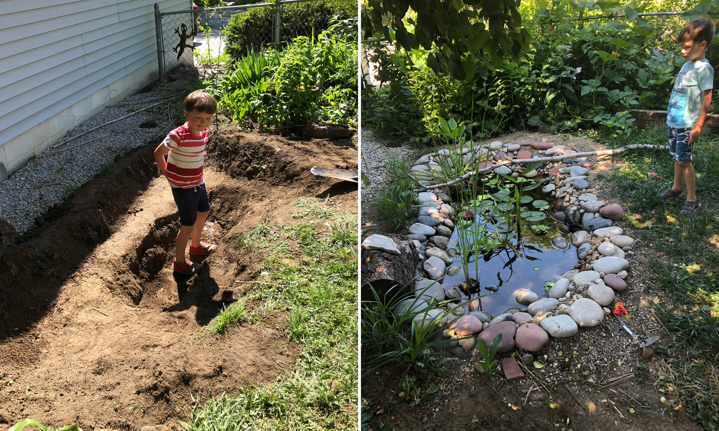 A pair of photos showing the pond while being dug into the bare dirt (left) and the completed pond with lily pads and other plants growing in it (right)