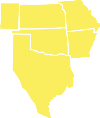 A map of the South Central Region is shown: Kansas, Missouri, Oklahoma, and Arkansas, and parts of Texas and Colorado.