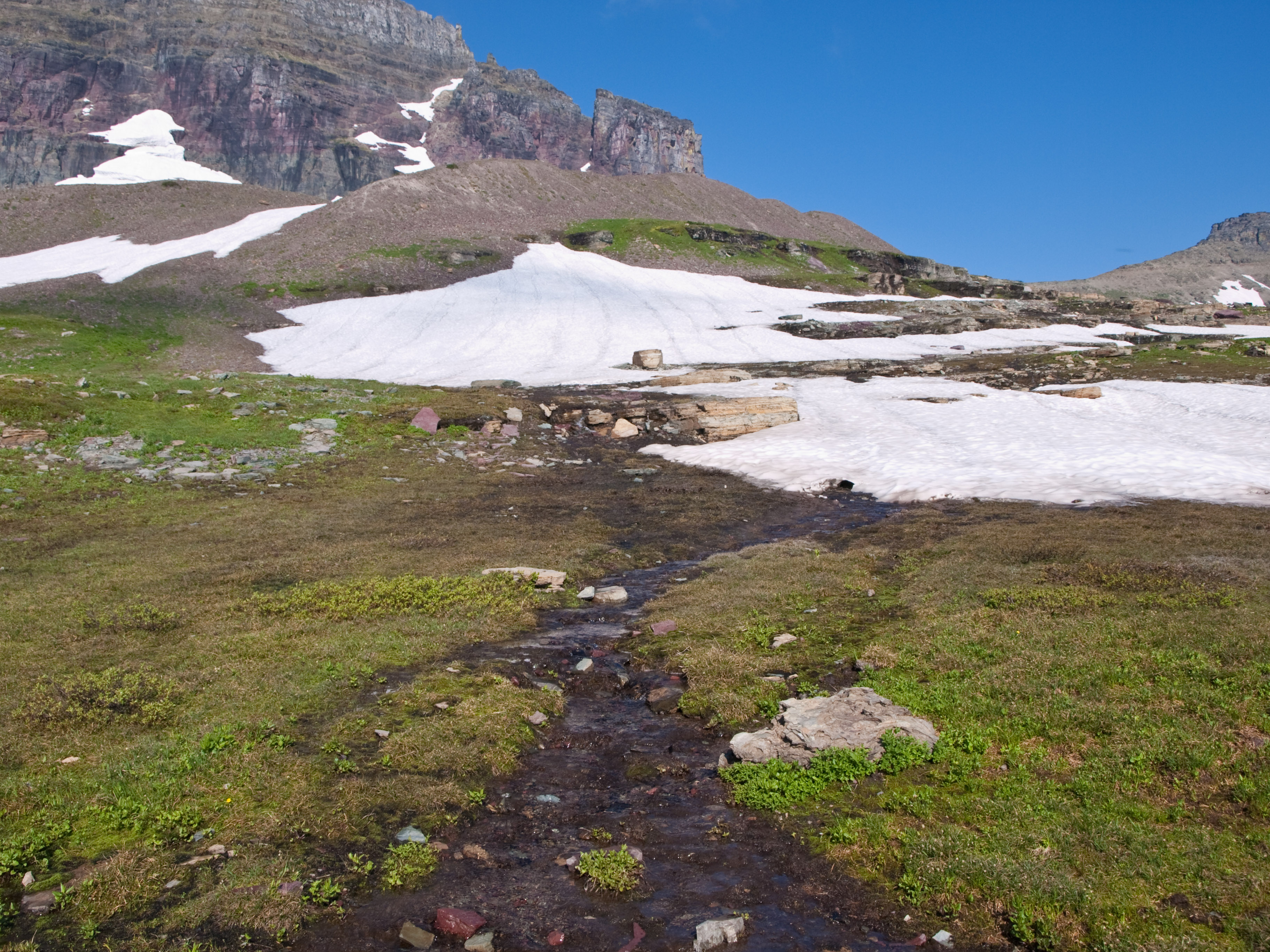 A trickle of water from melting snow drains down a mountain.