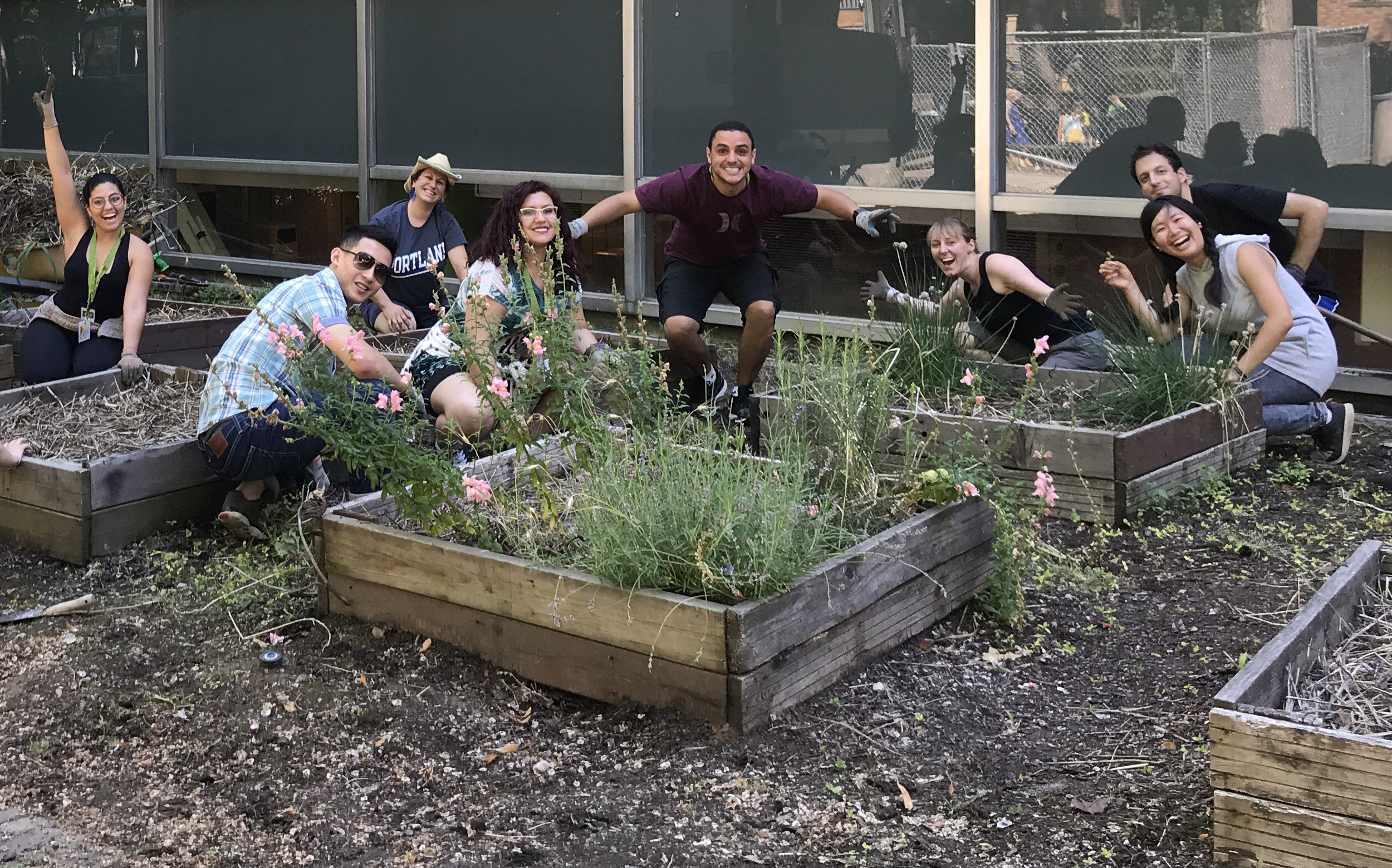 Students at Portland State University enjoy planting flower beds around the campus.