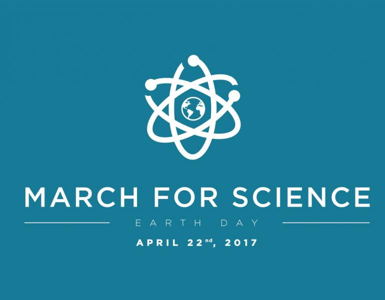 The March for Science logo, modeled after an atom, is shown.