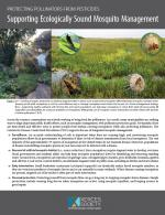 The front page of the guide Supporting Ecologically Sound Mosquito Management: Protecting Pollinators from Pesticides is shown, with some large text blocks and an image of a field in which different insects, including butterflies and bees, are shown in a landscape.